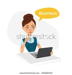 Business character. Girl is sitting at table. She is working behind laptop and talking word business. Vector illustration