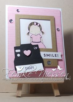 """made by femke niessen: smile!!! stamps: My favorite things """"PI pretty pumpkin, picture this, captured memories, graph paper notes. MFT dienamics: blueprints 6, instaframe, cute camera's 2."""