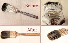 How to get your paintbrushes clean once the paint has already dried on them....