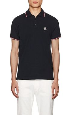 Moncler Striped Cotton Piqué Polo Shirt - S Red Pique Polo Shirt, Collar And Cuff, Signature Logo, Red Stripes, Moncler, Rib Knit, Navy And White, Classic Style, Ready To Wear