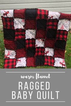 This warm flannel ragged baby quilt is the perfect gift for a new baby! Baby Diy Projects, Easy Sewing Projects, Sewing Projects For Beginners, Quilting For Beginners, Quilting Tutorials, Sewing Tutorials, Sewing Blogs, Sewing Hacks, Sewing Tips