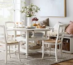 Shayne Round Drop-Leaf Kitchen Table, 49 x Antique White - Kitchen Furniture - Pottery Barn Antique interior design Table Ikea, Table And Chairs, Dining Chairs, Arm Chairs, Pedestal Dining Table, Extendable Dining Table, Küchen Design, Home Design, Interior Design