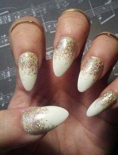 Stiletto Almond White Nails