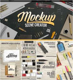 Moclup scene creator lettering and design