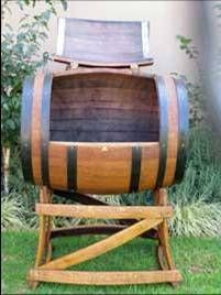 Oak Barrel Cooler on stand - great for South African outdoor entertainment..