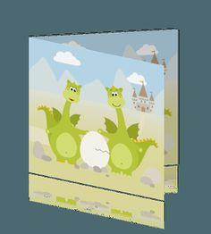 Vrolijke geboortekaart jongen met draakjes en kasteel. geboortekaartjes voor een zoon