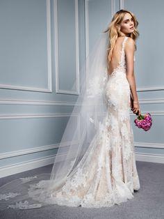 Monique Lhuillier Wedding Dresses - Wedding and Bridal Inspiration Dream Wedding Dresses, Designer Wedding Dresses, Bridal Dresses, Prom Dresses, Monique Lhuillier Bridal, Backless Wedding, Lace Wedding, Bridal Lace, Wedding Reception