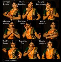 "Navarasa::> Indian dance forms typically showcase 9 basic emotions of humans called Navarasa, nava for 9 and rasa for ""something that is experienced, i. mood: These are all the basic moods that cover human emotional responses."