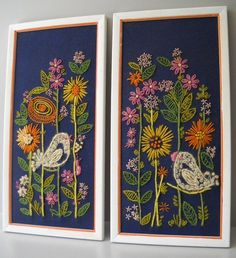 CREWEL WALL ART HANGINGS FLOWERS BIRDS