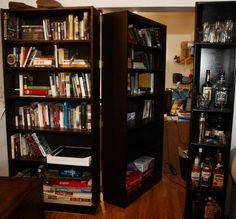 It's literally just a bookcase put on standard door hinges with coasters added to the bottom. A superb, simple weekend project! Both guides suggest that the total cost of this (assuming you do it yourself) is less than $150 if you use budget furniture (probably best to find lightweight shelving, of course).