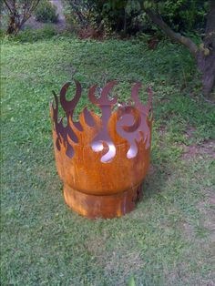 Once I got my used plasma cutter and air compressor I started making fire pits from every old tank I could find.  This one was made from an old well pressure tank.