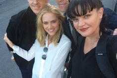 """""""At NCIS with Emily Wickersham and the mouths of BABES! Who're those boys!? #GroupSelfieFail"""" ~ Pauley Perrette"""