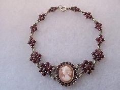 Vintage-Antique Victorian Bohemian Garnet Cameo Rose-Cut Link Bracelet