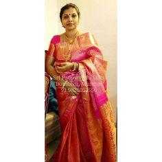 Happy Client Mrs Vaishali in a Pure Kancheepuram Brocade Silk Saree from Sri Padmavathi Silks, Dombivli, India. Book yours at 91 9821054556 International shipping available. #silksaree  #bridalfashion #fashion   #bridalsaree  #brocade #malaysia  #canada  #singapore