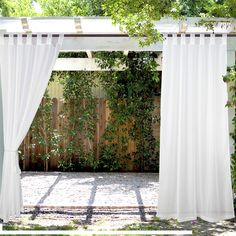 LIFONDER Outdoor Sheer Curtain Panels - Elegant Water Repellent Tab Top Indoor/Outdoor Drapes/Pergola Shades/Gazebo Blinds for Patio Privacy with 2 Tiebacks, W X L, White, Set of 2 Pergola Drapes, Outdoor Curtains For Patio, Porch Curtains, Gazebo Pergola, Patio Privacy, Outside Patio, Deck With Pergola, Canopy Outdoor, Indoor Outdoor