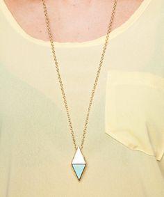 Casey 2 Tone Rectangle Pendant Long Necklace