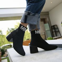2018 winter new high-heeled elastic socks boots European and American stockings knitted wool skinny legs thick with short boots women's shoes This is one of 2019 ss trends. Boots For Short Women, Short Boots, Shoes Sneakers, Shoes Heels, Knit Stockings, Skinny Legs, Discount Shoes, High Heels, Footwear