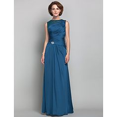 Sheath/Column Jewel Satin Chiffon Mother of the Bride Dress (612470) – USD $ 179.99