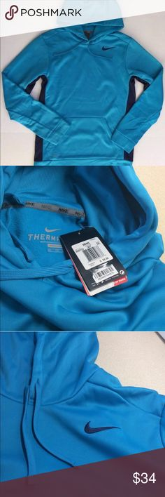 NWT Nike Mens hoodie therma-fit sweatshirt 2XL XXL Condition- new with tag Retail $50 plus tax Color- blue/ navy Size- 2xl xxl  100% authentic hooded pullover men's jacket   Items are overstock/ shelf pulls- may have stickers or cut tag, very minor unnoticeable imperfection or tried in stores   Shipping USPS first class or priority mail Please message if you have any questions Nike Shirts Sweatshirts & Hoodies