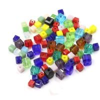 3MM Loose Diy Bead Accessories(100Pcs/Lot)3MM Charms Glass Cube Bead For Bead Necklace