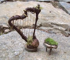 Fairy Garden HARP STOOL and Sheet Music STAND Woodland Faery Doll House Miniature Terrarium