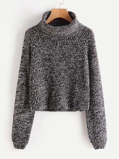 476c6c9a15 Shop Roll Neck Raglan Sleeve Marled Knit Jumper online. SheIn offers Roll  Neck Raglan Sleeve