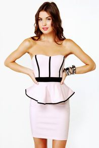 sweet-dish strapless pinkish dress... love the peplum look