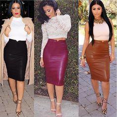 Womens Bodycon Bandage OL Women's Dress High Waist PU Leather Pencil Skirt Sexy #Unbranded #StretchKnit