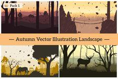 Autumn Vector Landscape Illustration by GraphicValley on Landscape Illustration, Graphic Illustration, Vector Illustrations, Fall Season, Design Projects, Scenery, Autumn, Texture, Brainstorm