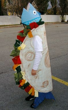 funny Halloween costumes ideas, costumes I've handmade for my kids over the years- A policeman, Marie Antoinette, fish taco costume, housewife costume Taco Halloween Costume, Taco Costume, Holiday Costumes, Halloween Costumes For Kids, Diy Fish Costume, Creative Costumes, Cute Costumes, Costume Ideas, Mermaid Parade