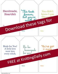 Free Gift Tags for Knitters - Media - Knitting Daily