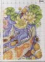 "ru / frango - Альбом ""Flashes of gold"" Carpe Koi, Cross Stitch Collection, Cross Stitch Animals, General Crafts, Crochet Baby, Vintage World Maps, Oriental, Diagram, Fish"
