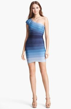 Herve Leger Ombré One Shoulder Bandage Dress available at #Nordstrom - I want about 10 of these. Love, love, love the bandage wrap dress.