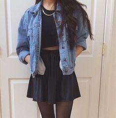 black crop top, black skirt, jean jacket black stockings