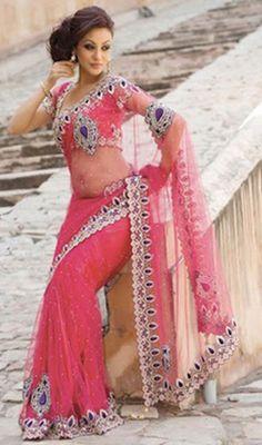 Plushy Deep Pink Embroidered Saree Price: Usa Dollar $557, British UK Pound £326, Euro412, Canada CA$598 , Indian Rs30078.