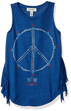 Jessica Simpson Big Girls Rini Batik Peace Fringe Tank Mazarine Blue XLarge >>> Be sure to check out this awesome product.Note:It is affiliate link to Amazon.