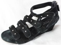 "~~~ HIPSTER-VILLE ~~~ GUCCI SUEDE ""STUDDED"" BLACK GLADIATOR WEDGE SANDALS ~ 37 #Gucci #WedgeSandals"
