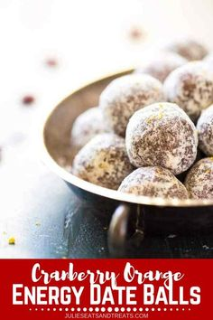 Looking for the best travel food recipes? Try these cranberry orange date balls. These cranberry orange date balls are packed with protein and energy! They�re easy and made in 5 minutes, so they�re perfect for a quick and healthy snack! Don't forget to pa Healthy Travel Snacks, Quick Healthy Snacks, Easy Snacks, Healthy Treats, Yummy Snacks, Snack Recipes, Dessert Recipes, Healthy Sides, Healthy Recipes