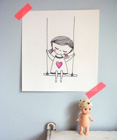 kinderkamer aan de muur | illustratie van mijzelf | te koop Kawaii Doodles, Drawing Projects, Kawaii Drawings, Children's Book Illustration, Pictures To Draw, Pattern Art, Doodle Art, Cute Art, Painting & Drawing