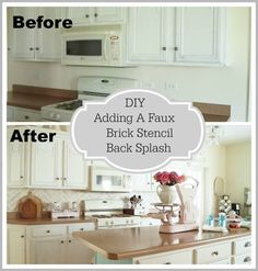 Love this kitchen and this idea is amazing! Great for people like me who are not DIY handy at all. This will be much easier and cheaper than trying to add tile. www.whitelacecottage.com