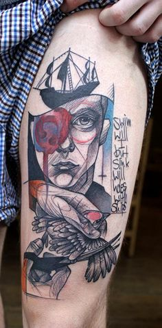 "Tattoos by Peter Aurisch - ""ships with holes sink, but i will swim"""