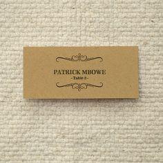 DIY Kraft Paper Wedding Placecards / Escort Cards - Handlettered Rustic Love - Printable PDF Template - Instant Download