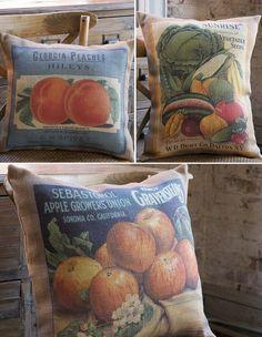 Burlap Pillows   Feedsack Pillows   Grain Sack Pillows