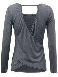 Sexy casual women solid long sleeve backless hollow irregular t-shirt t shirt hip hop girl #carolina #girl #t #shirts #easley #sc #led #zeppelin #t #shirts #womens #long #t #shirts #womens #zara #girl #t #shirts