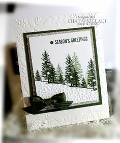 STAMPS: Happy Scenes. PAPER: Mossy Meadow, Silver Glimmer. INK: Mossy Meadow. OTHER: Big Shot, Boughs & Berries EF. Mossy Meadow Stitched Satin Ribbon, Sequin.