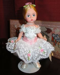 "Madame Alexander's Ballerina. ~ The most popular Madame Alexander doll has been the 8"" Wendy doll which has been produced since the 1950s. Their premium Cissy fashion dolls are 21"" tall. The company has produced nearly every other size of doll in between, including 10"" Cissette dolls, 12"" Huggums baby dolls and many varieties of larger baby dolls."