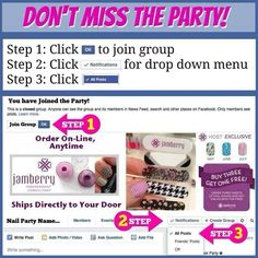 """Jamberry nail wraps **Free Giveaway Entry** Just follow these three steps so you don't miss my fabulous Jamberry Party, then comment """"Joined"""" to get your entry!  *note: you will have to click on this party link to join if this is showing up in your newsfeed! https://www.facebook.com/groups/1405677869714166/"""