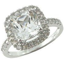 Right hand ring- Sam's Club Mobile - White Topaz and White Sapphire Ring in 14k White Gold