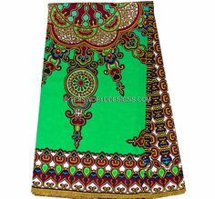 Green Star Dashiki Fabric/ African Fabric/ by TessWorldDesigns