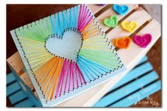 Best DIY Rainbow Crafts Ideas - Heart String Art - Fun DIY Projects With Rainbow.Best DIY Rainbow Crafts Ideas - Heart String Art - Fun DIY Projects With Rainbows Make Cool Room and Wall Decor, Party and Gift Ide# Art Bee Crafts, Diy And Crafts, Crafts For Kids, Tween Craft, Arts And Crafts For Teens, Party Crafts, Birthday Crafts, Teen Summer Crafts, Easy Crafts To Make
